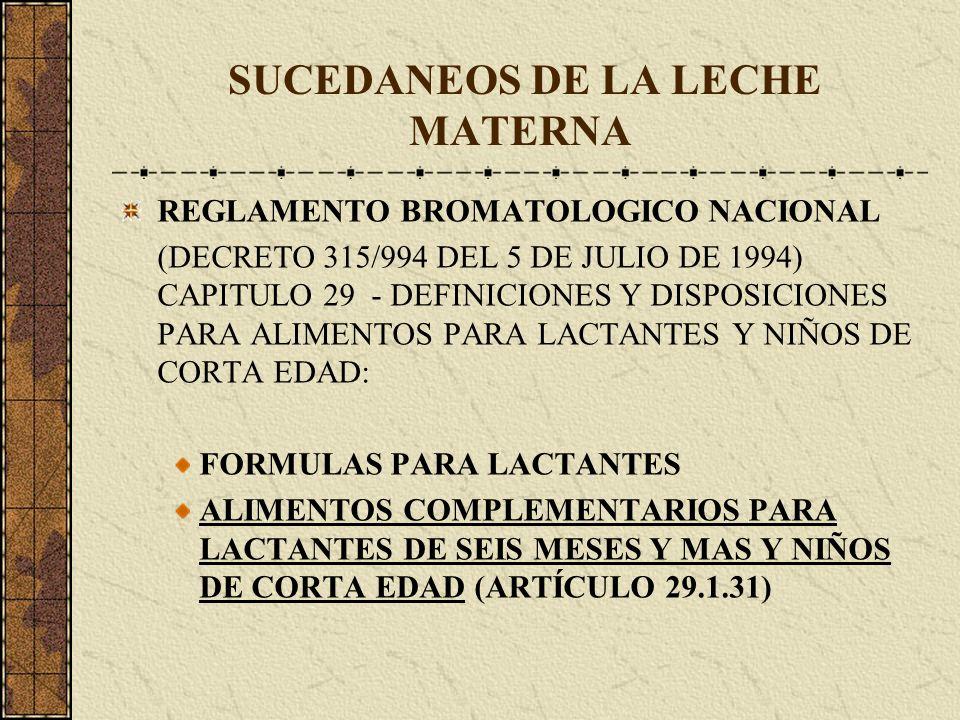 SUCEDANEOS DE LA LECHE MATERNA