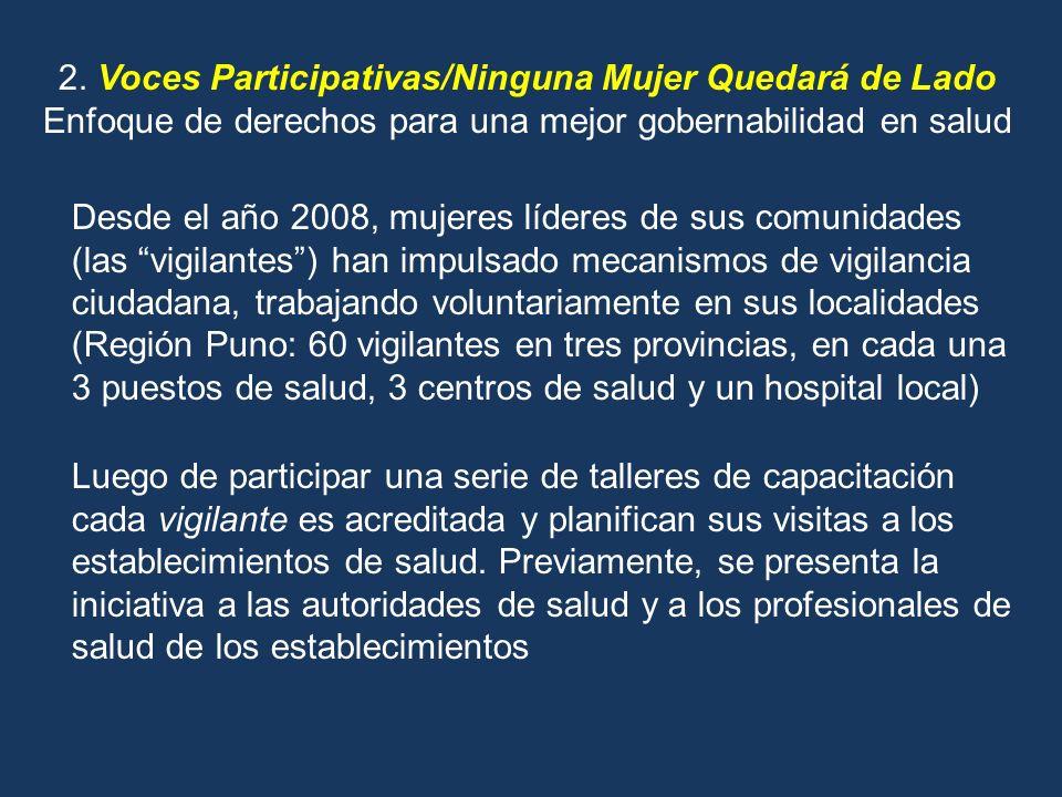 2. Voces Participativas/Ninguna Mujer Quedará de Lado Enfoque de derechos para una mejor gobernabilidad en salud