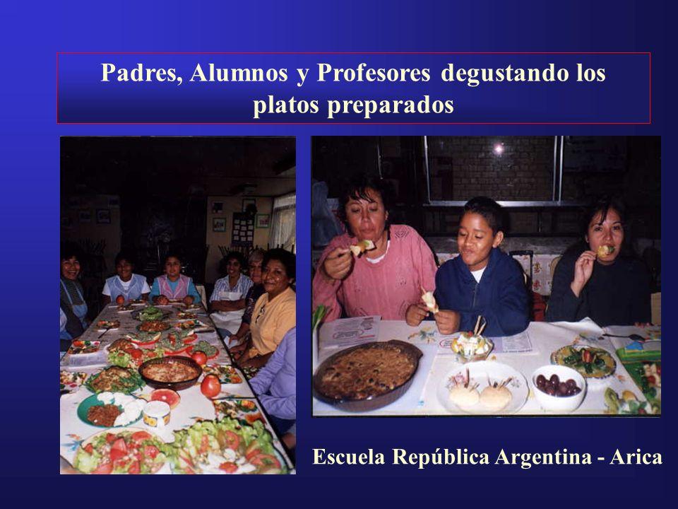 Padres, Alumnos y Profesores degustando los platos preparados
