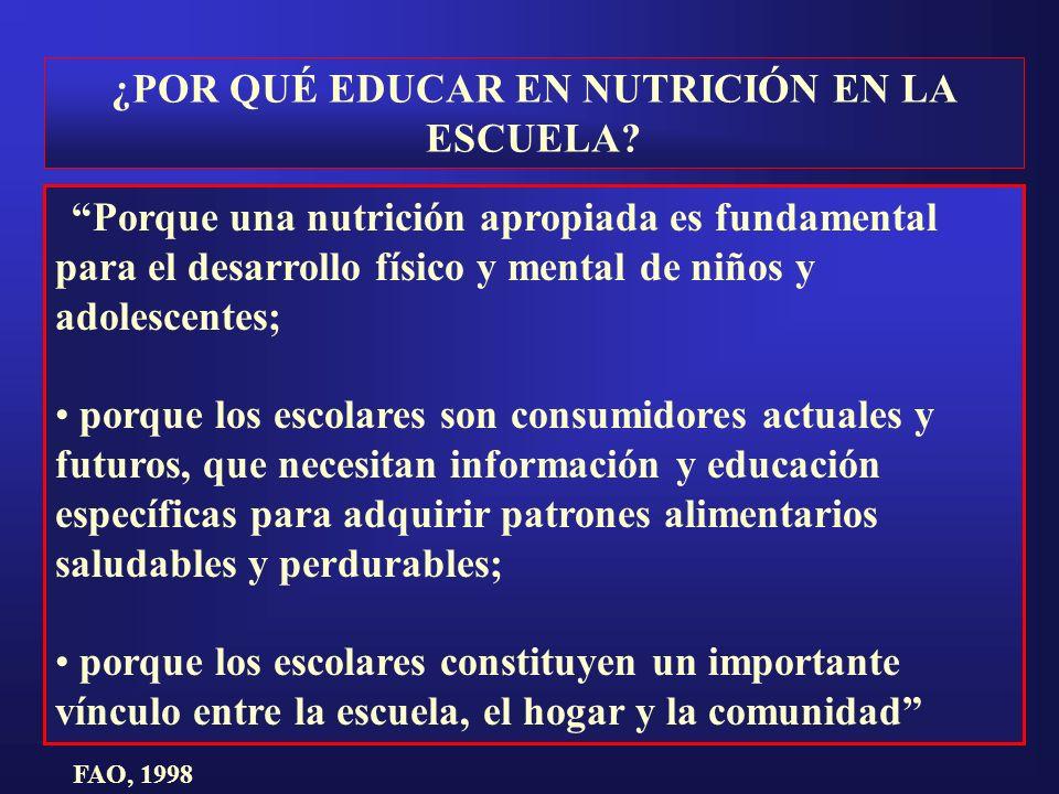 ¿POR QUÉ EDUCAR EN NUTRICIÓN EN LA ESCUELA