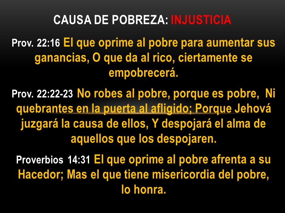 Causa de pobreza: injusticia