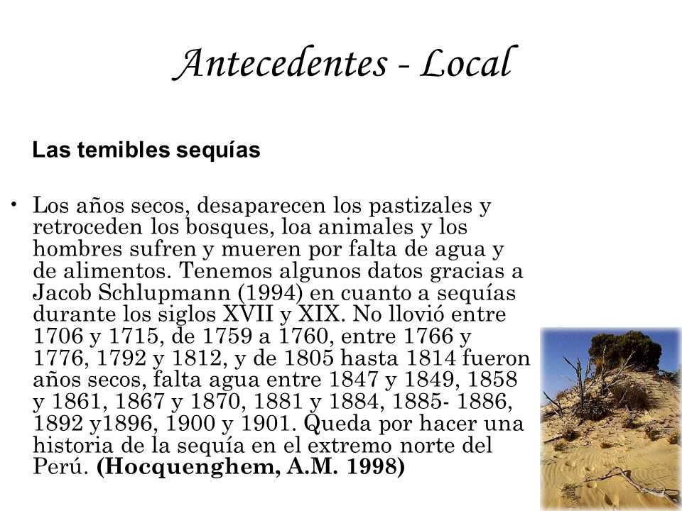 Antecedentes - Local Las temibles sequías