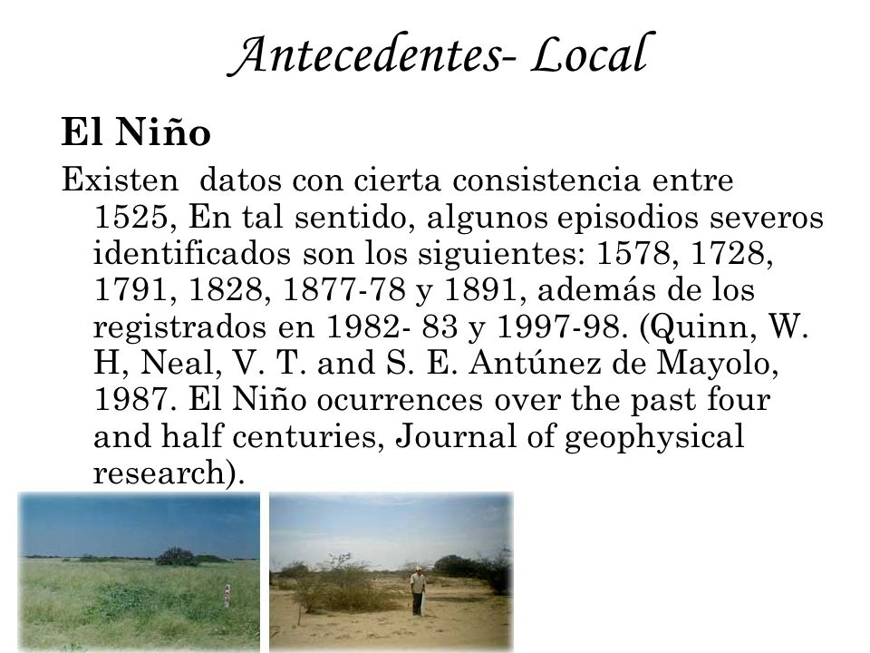 Antecedentes- Local El Niño