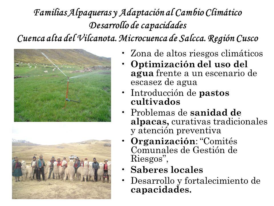 Familias Alpaqueras y Adaptación al Cambio Climático Desarrollo de capacidades Cuenca alta del Vilcanota. Microcuenca de Salcca. Región Cusco