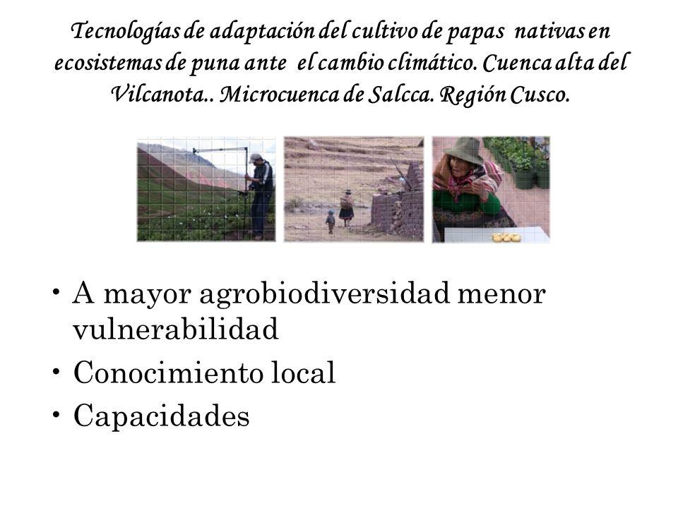 A mayor agrobiodiversidad menor vulnerabilidad Conocimiento local