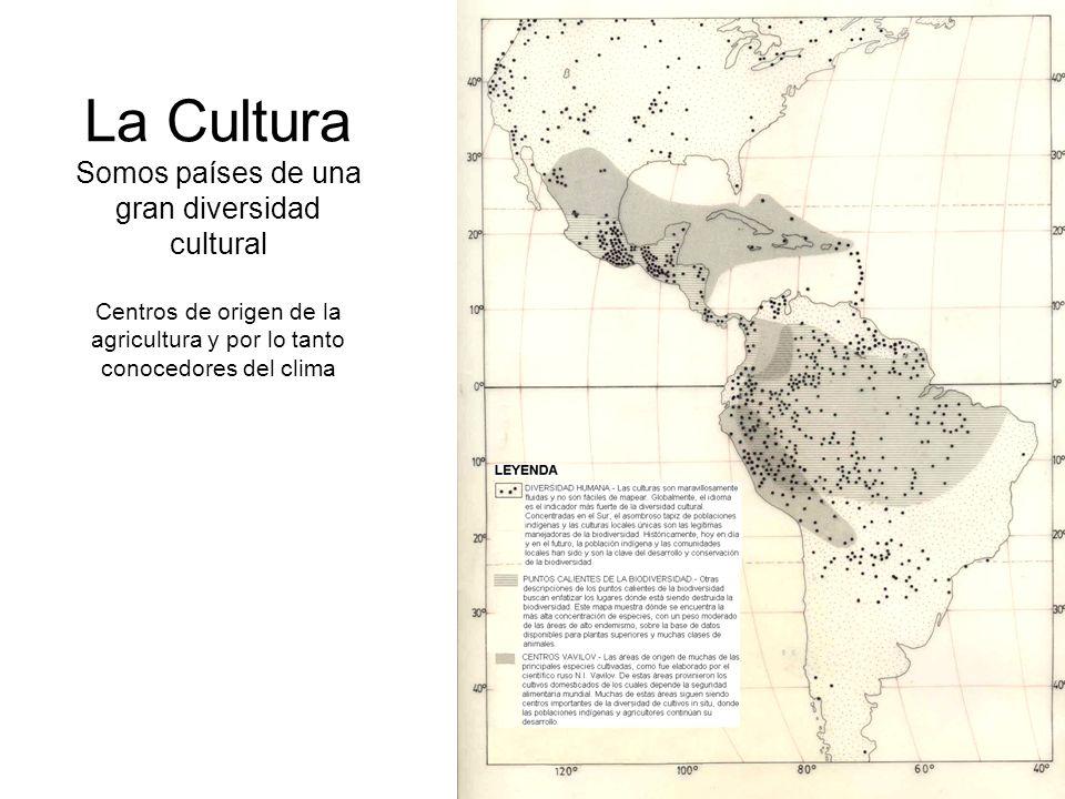 La Cultura Somos países de una gran diversidad cultural Centros de origen de la agricultura y por lo tanto conocedores del clima