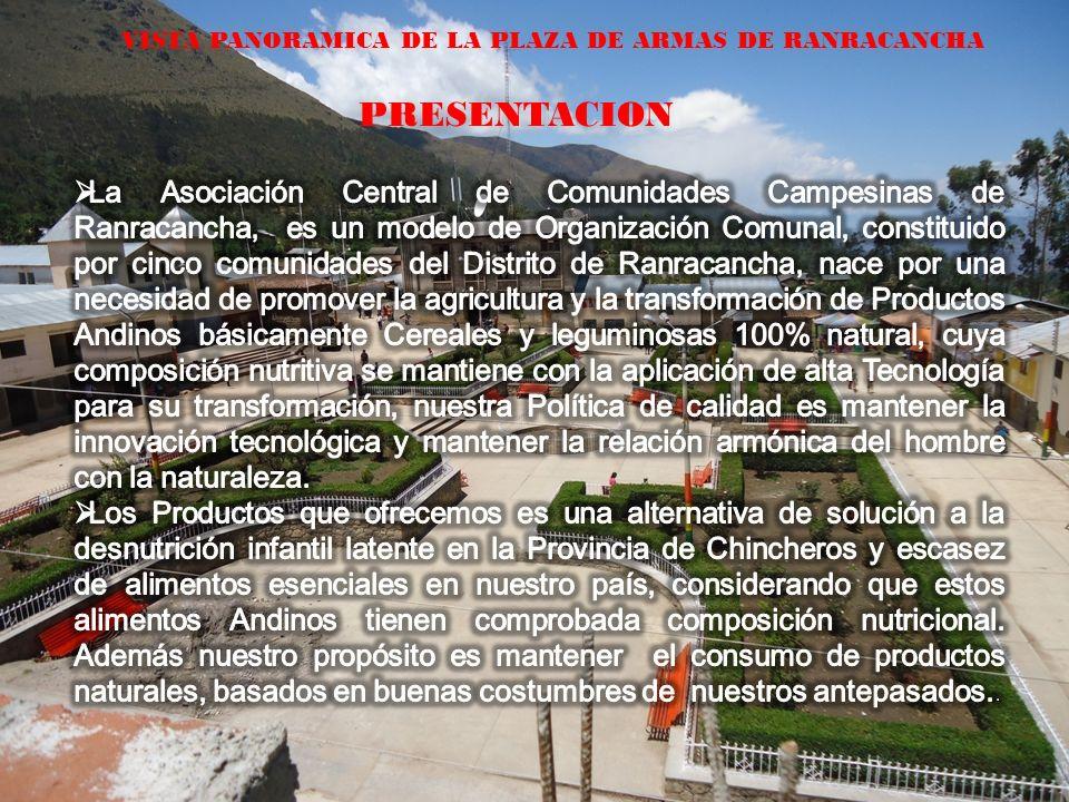 VISTA PANORAMICA DE LA PLAZA DE ARMAS DE RANRACANCHA