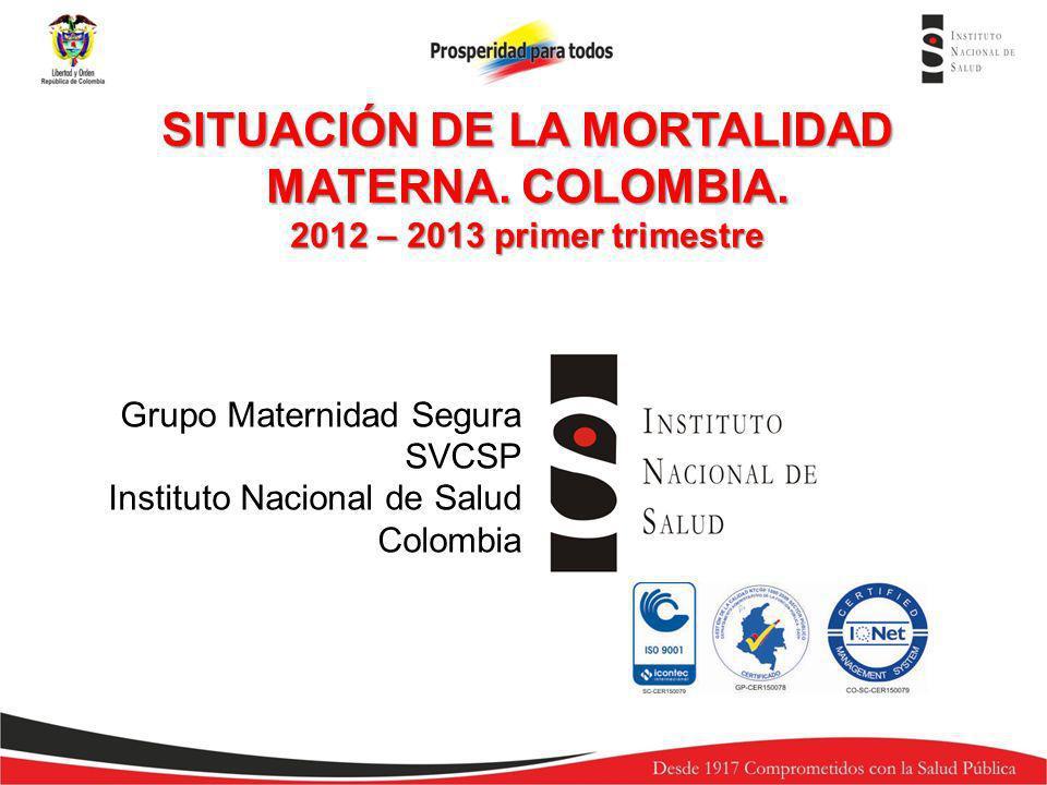 SITUACIÓN DE LA MORTALIDAD MATERNA. COLOMBIA.