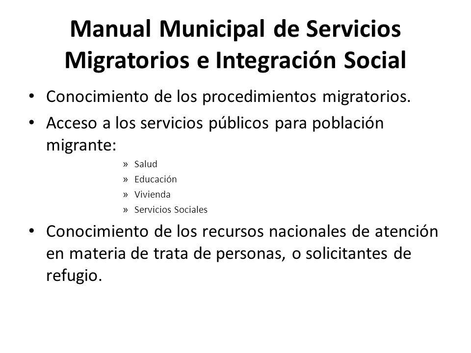 Manual Municipal de Servicios Migratorios e Integración Social