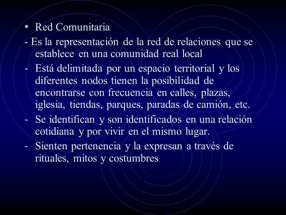 Red Comunitaria - Es la representación de la red de relaciones que se establece en una comunidad real local.