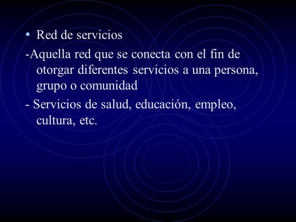 Red de servicios -Aquella red que se conecta con el fin de otorgar diferentes servicios a una persona, grupo o comunidad.