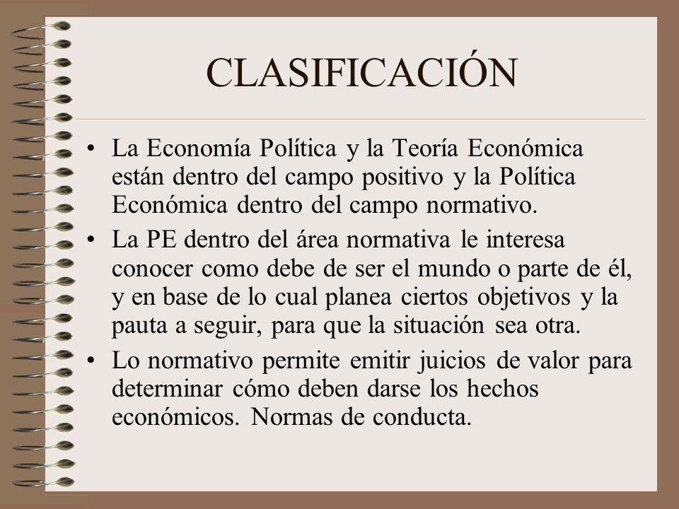 CLASIFICACIÓN La Economía Política y la Teoría Económica están dentro del campo positivo y la Política Económica dentro del campo normativo.