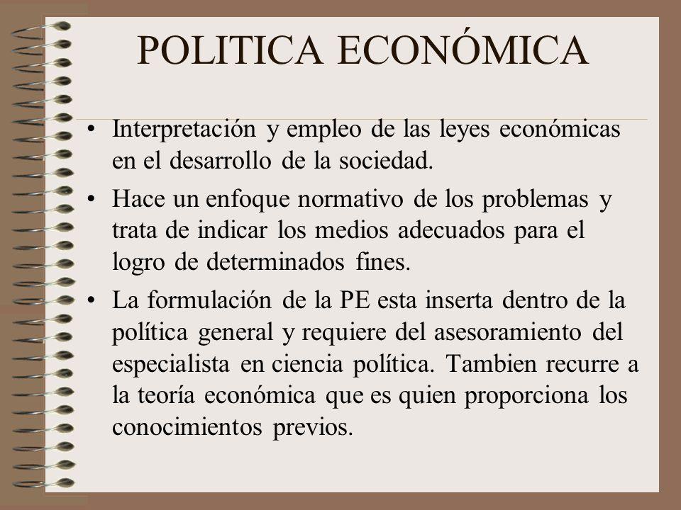 POLITICA ECONÓMICA Interpretación y empleo de las leyes económicas en el desarrollo de la sociedad.