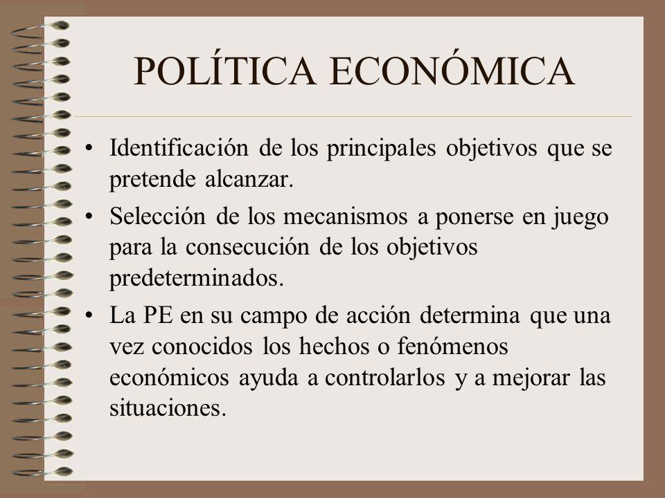 POLÍTICA ECONÓMICA Identificación de los principales objetivos que se pretende alcanzar.