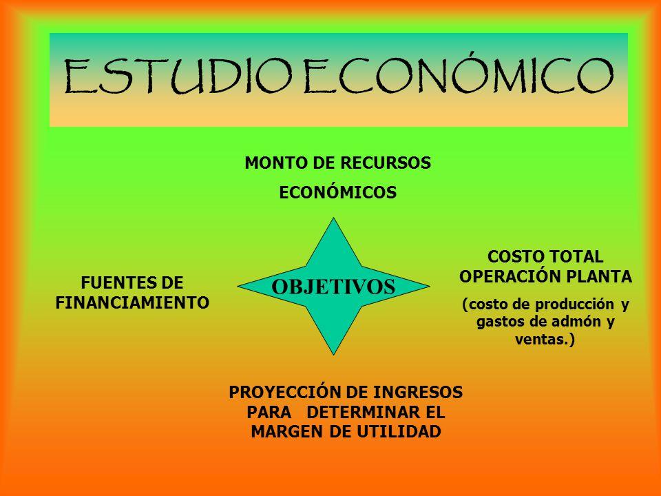 ESTUDIO ECONÓMICO OBJETIVOS MONTO DE RECURSOS ECONÓMICOS