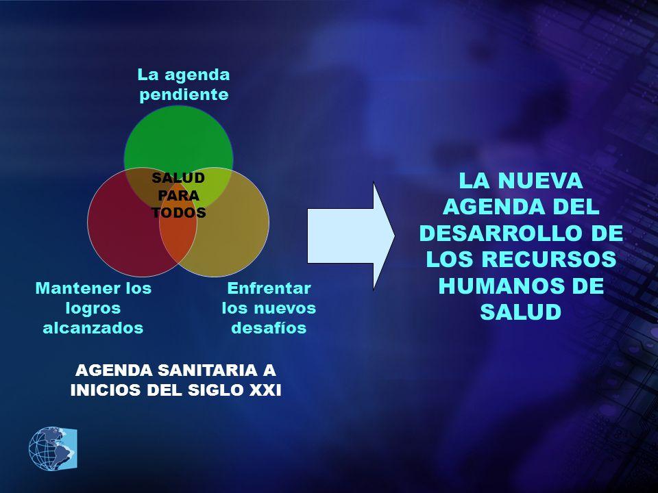 LA NUEVA AGENDA DEL DESARROLLO DE LOS RECURSOS HUMANOS DE SALUD