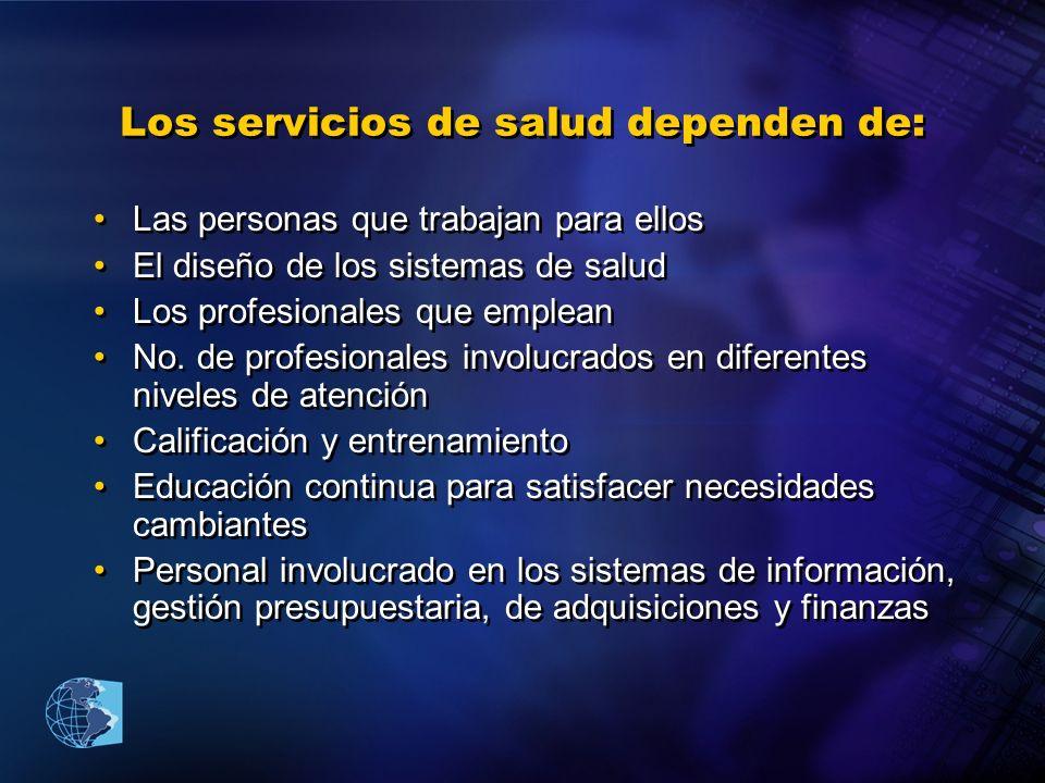Los servicios de salud dependen de: