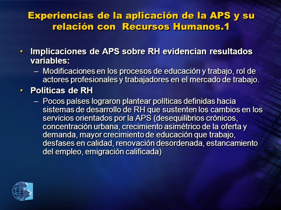 Experiencias de la aplicación de la APS y su relación con Recursos Humanos.1