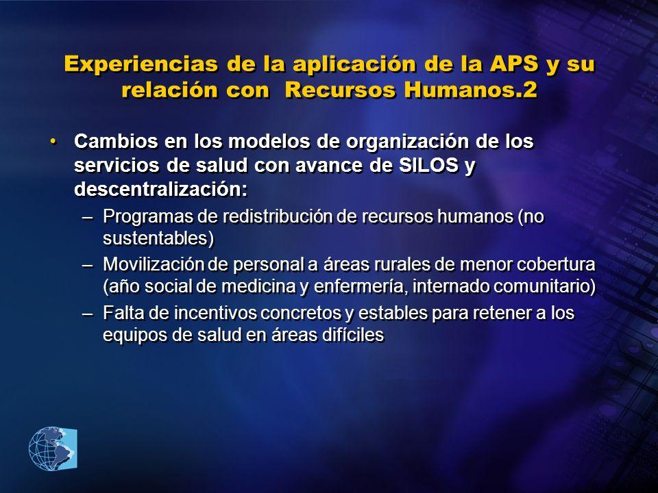 Experiencias de la aplicación de la APS y su relación con Recursos Humanos.2