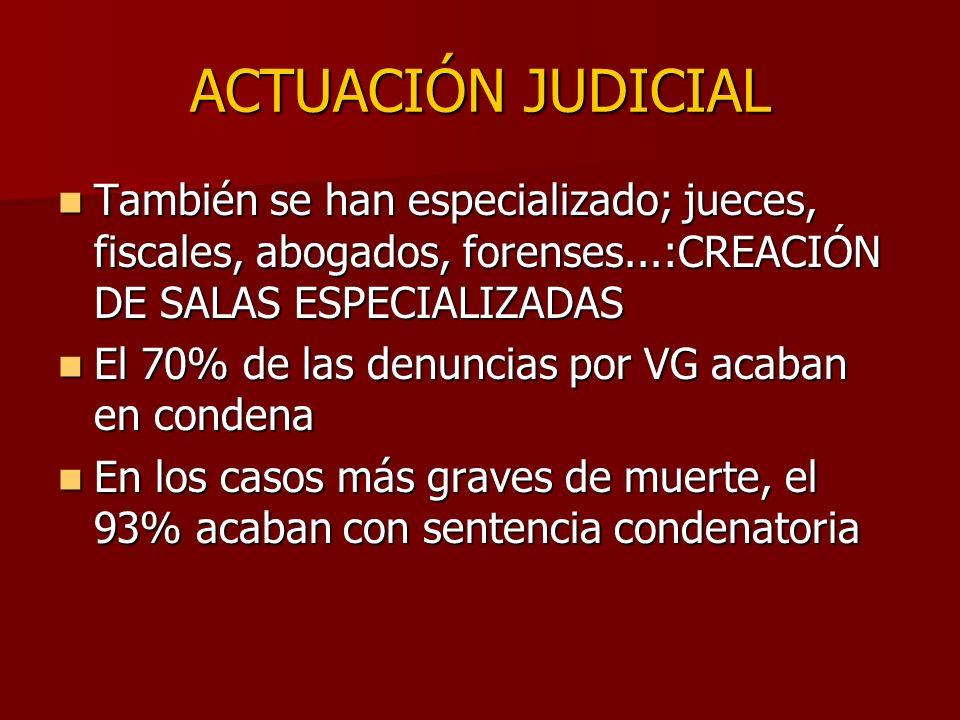 ACTUACIÓN JUDICIAL También se han especializado; jueces, fiscales, abogados, forenses...:CREACIÓN DE SALAS ESPECIALIZADAS.