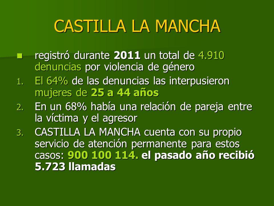 CASTILLA LA MANCHA registró durante 2011 un total de 4.910 denuncias por violencia de género.