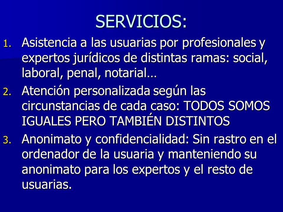 SERVICIOS: Asistencia a las usuarias por profesionales y expertos jurídicos de distintas ramas: social, laboral, penal, notarial…
