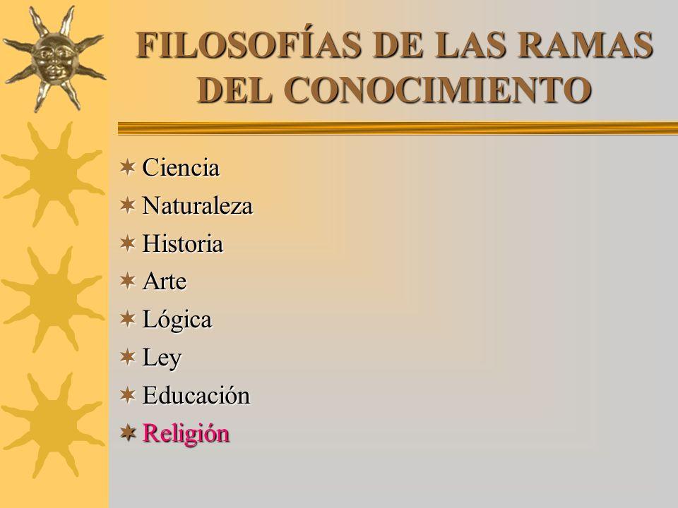 FILOSOFÍAS DE LAS RAMAS DEL CONOCIMIENTO