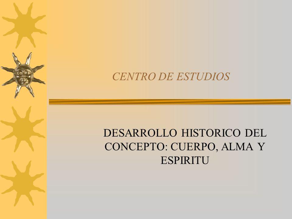 DESARROLLO HISTORICO DEL CONCEPTO: CUERPO, ALMA Y ESPIRITU