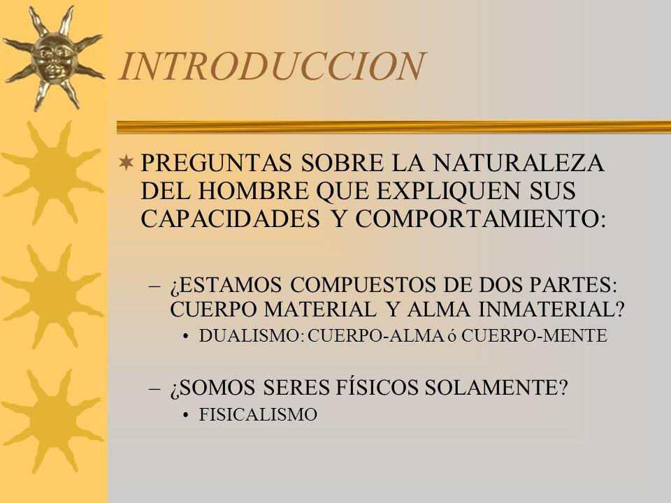 INTRODUCCION PREGUNTAS SOBRE LA NATURALEZA DEL HOMBRE QUE EXPLIQUEN SUS CAPACIDADES Y COMPORTAMIENTO: