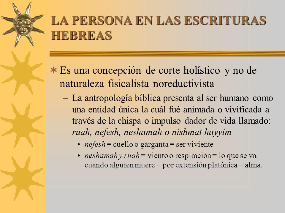 LA PERSONA EN LAS ESCRITURAS HEBREAS