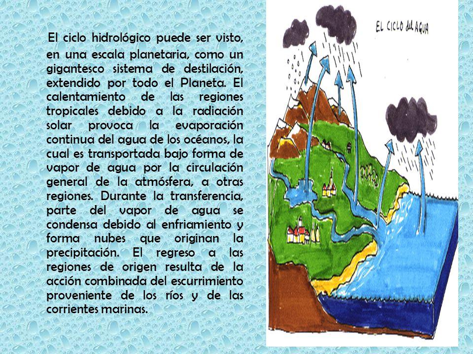 El ciclo hidrológico puede ser visto, en una escala planetaria, como un gigantesco sistema de destilación, extendido por todo el Planeta.
