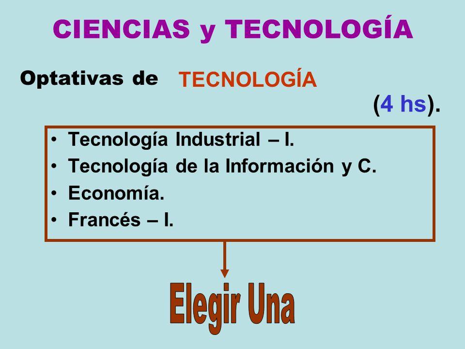 CIENCIAS y TECNOLOGÍA (4 hs). Elegir Una TECNOLOGÍA Optativas de