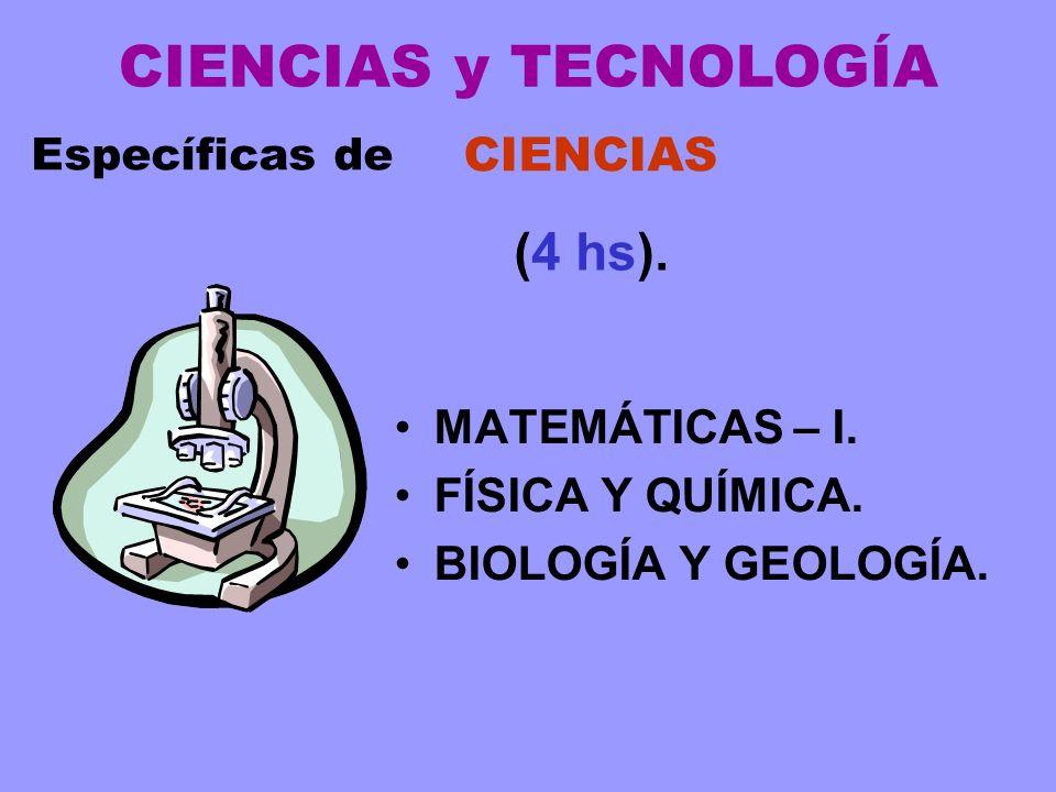 CIENCIAS y TECNOLOGÍA (4 hs). CIENCIAS MATEMÁTICAS – I.