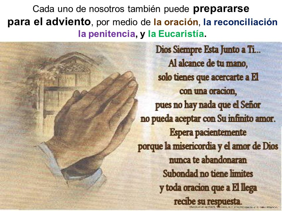 para el adviento, por medio de la oración, la reconciliación
