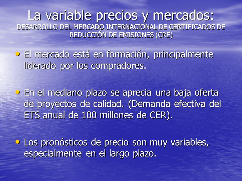 La variable precios y mercados: DESARROLLO DEL MERCADO INTERNACIONAL DE CERTIFICADOS DE REDUCCIÓN DE EMISIONES (CRE)