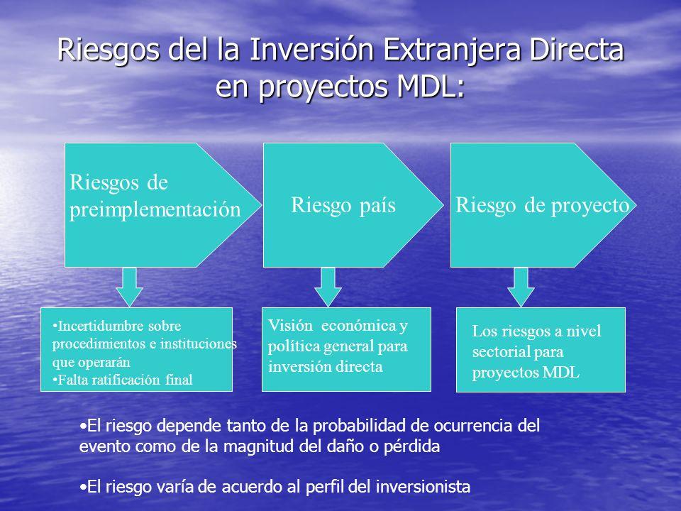 Riesgos del la Inversión Extranjera Directa en proyectos MDL: