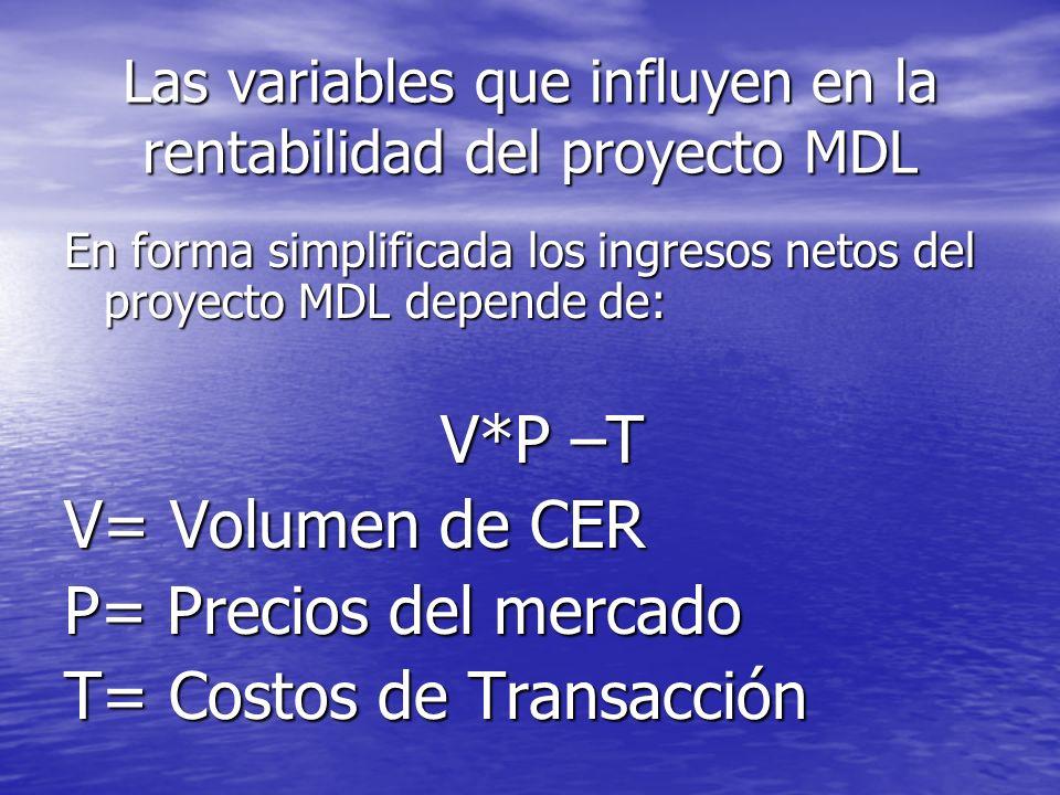 Las variables que influyen en la rentabilidad del proyecto MDL