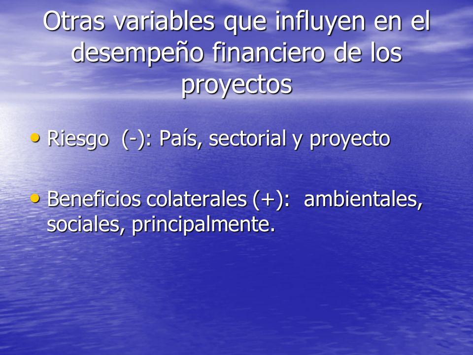 Otras variables que influyen en el desempeño financiero de los proyectos