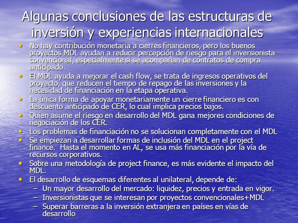 Algunas conclusiones de las estructuras de inversión y experiencias internacionales