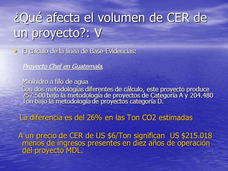 ¿Qué afecta el volumen de CER de un proyecto : V