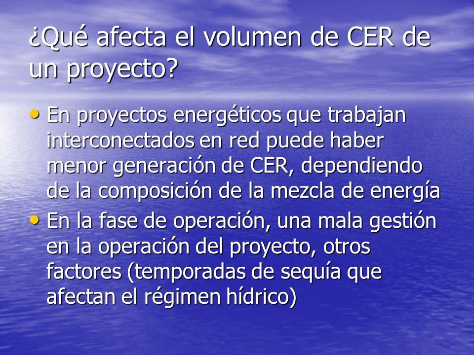 ¿Qué afecta el volumen de CER de un proyecto