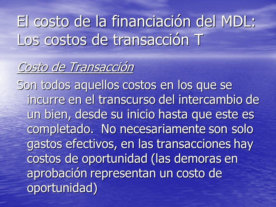 El costo de la financiación del MDL: Los costos de transacción T