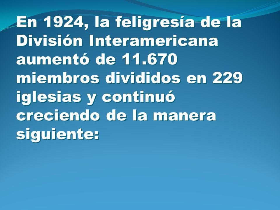 En 1924, la feligresía de la División Interamericana aumentó de 11