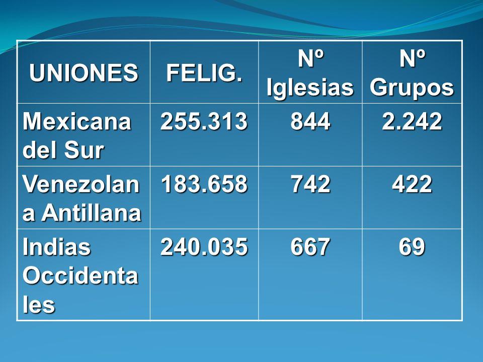 UNIONESFELIG. Nº Iglesias. Nº Grupos. Mexicana del Sur. 255.313. 844. 2.242. Venezolana Antillana. 183.658.