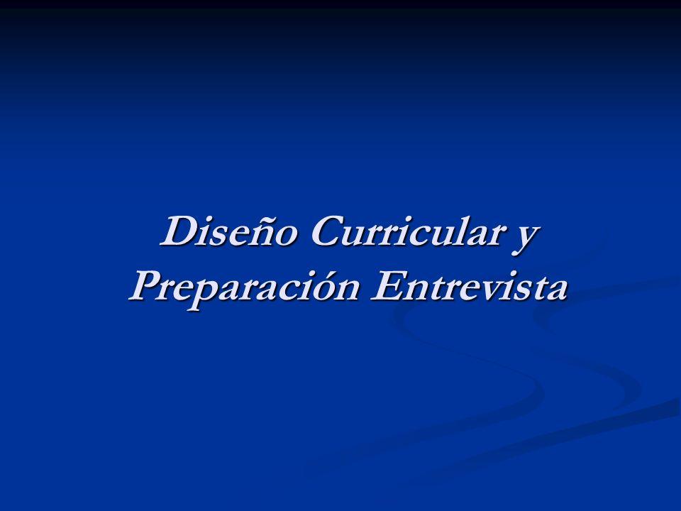 Diseño Curricular y Preparación Entrevista