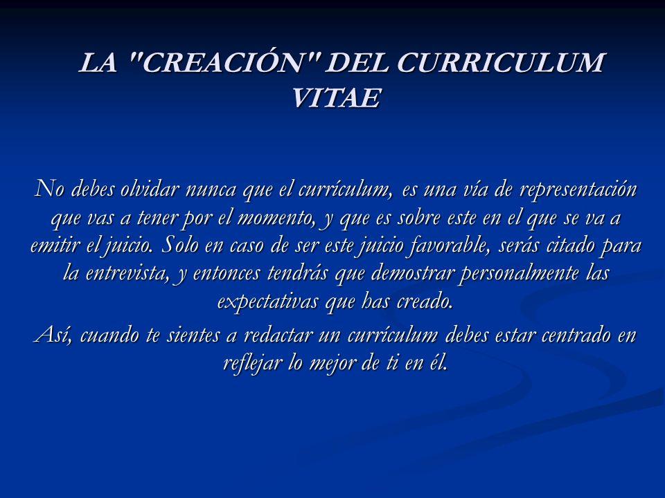 LA CREACIÓN DEL CURRICULUM VITAE