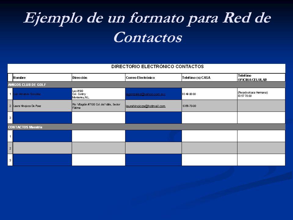 Ejemplo de un formato para Red de Contactos