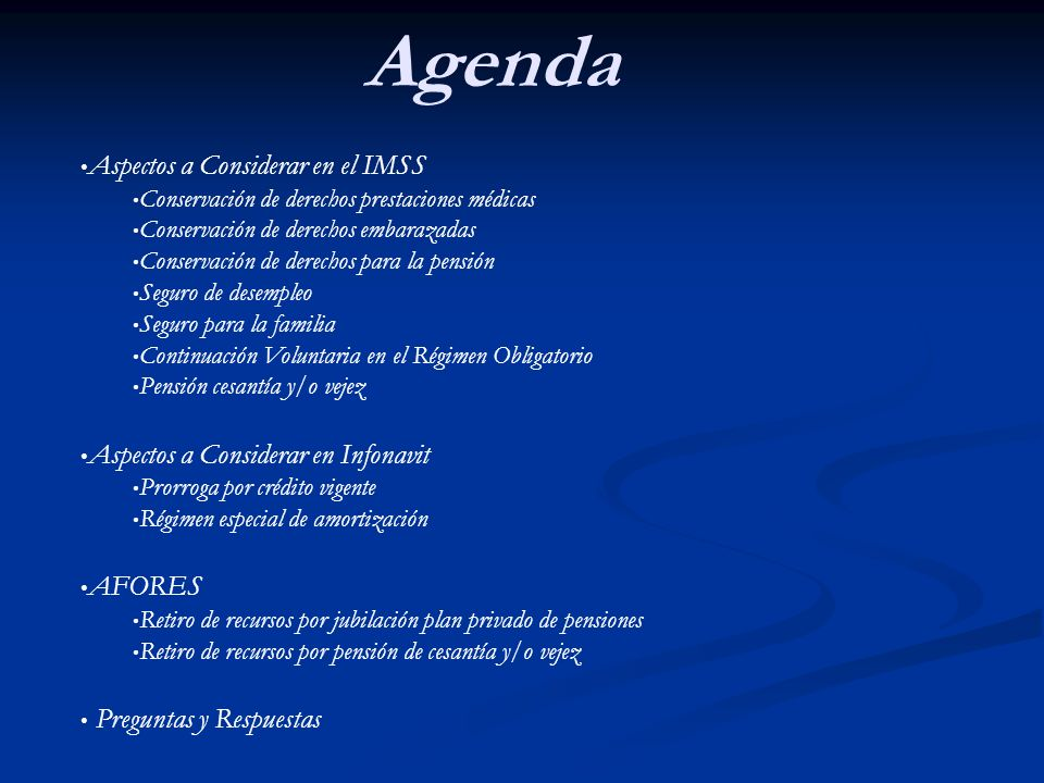 Agenda Aspectos a Considerar en el IMSS