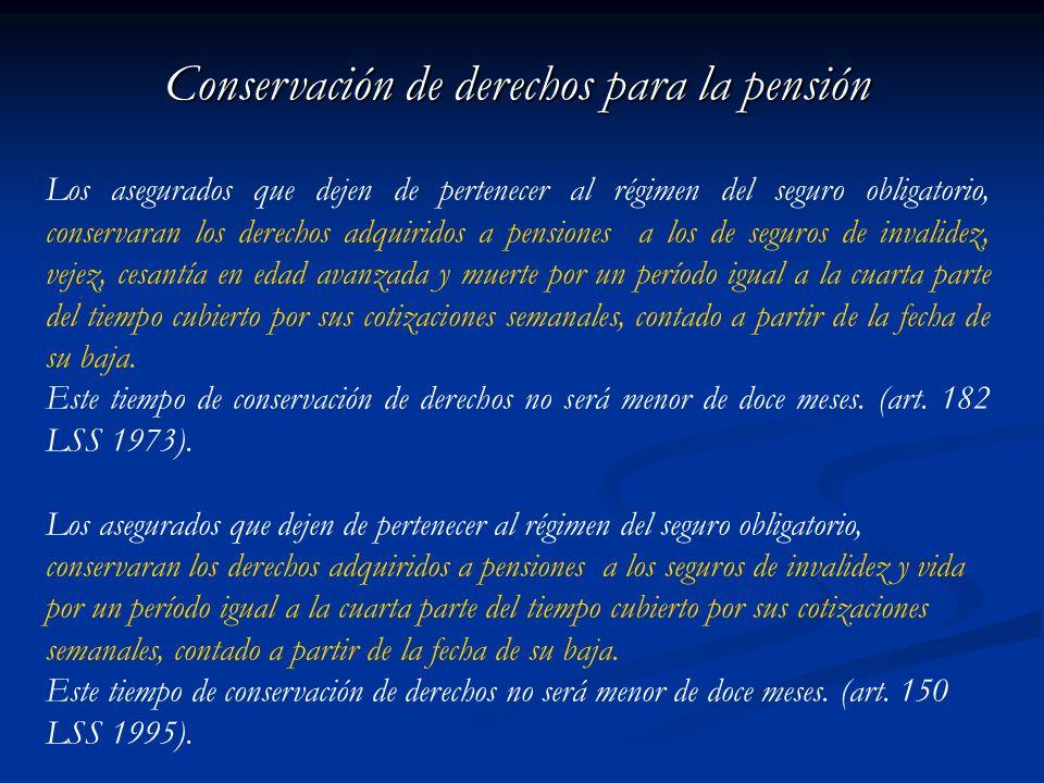 Conservación de derechos para la pensión