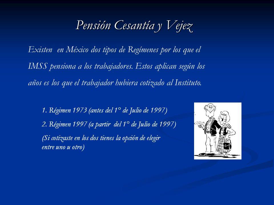Pensión Cesantía y Vejez